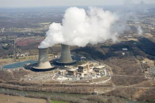 An aerial view of a nuclear power plant in Pottstown, Pennsylvania, on March 25, 2011