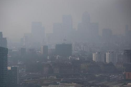 A photo taken on April 2, 2014 shows air pollution hanging in the air and lowering visibility in London
