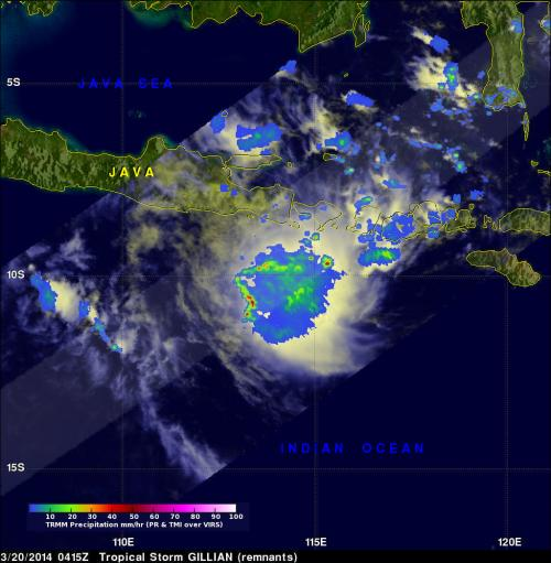 NASA sees ex-Tropical Cyclone Gillian's remnants persist