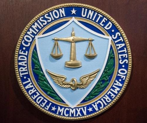 The logo of the Federal Trade Commission (FTC) is seen at FTC headquarters in Washington, DC, January 15, 2014