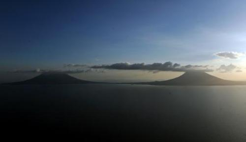 Aerial view of the Maderas (L) and Concepcion (R) volcanoes in Ometepe island, at the Cocibolca Lake, Nicaragua