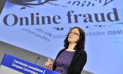 EU Commissioner for Home Affairs Cecilia Malmstroem talks during a press conference on Fighting European Cybercrime and establis