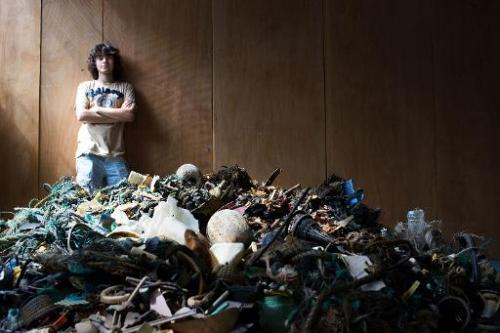 "A handout photo released by the Dutch Organization ""The Ocean Cleanup"" on July 2, 2014 shows Dutch student Boyan Slat,"
