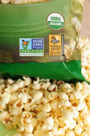 File photo of a label on a bag of popcorn indicating it is a non-GMO (genetically modified organism) food product in Los Angeles