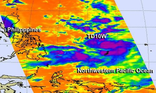 NASA's Aqua satellite sees birth of Tropical Depression 10W