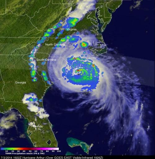 NASA sees Hurricane Arthur's July fourth fireworks on US East Coast