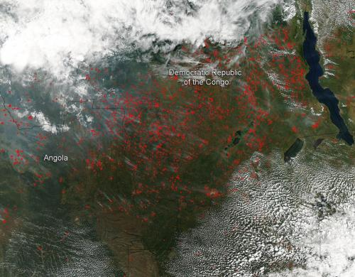 Agricultural fires light up central Africa