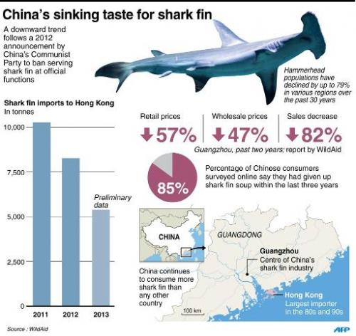 Graphic showing falling data for shark fin sales in China since a 2012 ban by the Communist Party for serving the traditional de