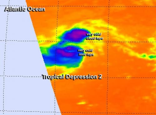NASA's Aqua satellite gets infrared hint on Tropical Depression 2