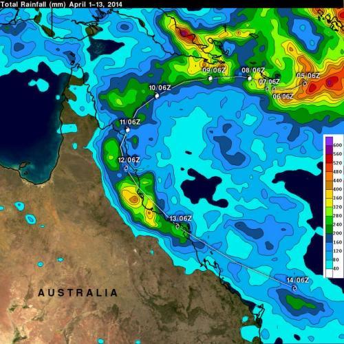 NASA's TRMM Satellite adds up Tropical Cyclone Ita's Australian soaking