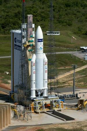 A handout photo released on July 29, 2014 by ESA shows the Ariane 5 flight VA219, which will carry the ATV Georges Lemaitre into