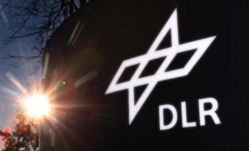 This picture taken on December 3, 2008 shows the logo of the Germany's aeronautics and space research centre (DLR) in Oberpfaffe