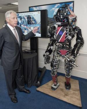 US Secretary of Defense Chuck Hagel is shown the Atlas robot at the Pentagon on April 22, 2014