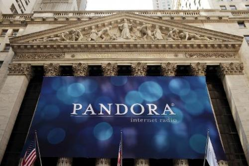 A banner for Pandora Media Inc., the online-radio company, hangs in front of the New York Stock Exchange on June 15, 2011 in New