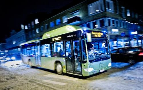 A bus travels through Vaexjoe, on January 15, 2014