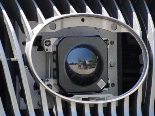 A camera in the front grill of Google's self-driving car in Mountain View, California, on May 13, 2014