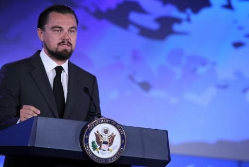 "Actor Leonardo DiCaprio speaks during the second and the final day of the ""Our Ocean"" conference on June 17, 2014 at t"