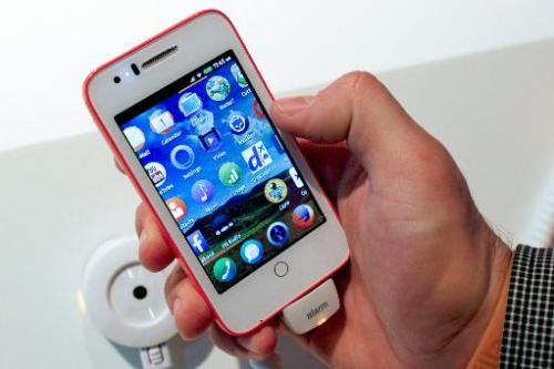A device with the new Firefox OS is presented at the Mobile World Congress in Barcelona, on February 24, 2014