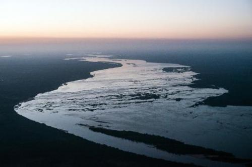 Aerial view of the Tocantins river near Maraba, in Para state, northern Brazil, on August 6, 2013