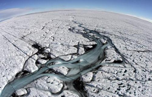 Aerial view taken on August 17, 2007, showing melting glaciers near Ilulissat in Greenland