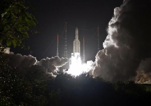 A European Ariane 5 ECA rocket taking off in Toucan, French Guiana, on March 22, 2014