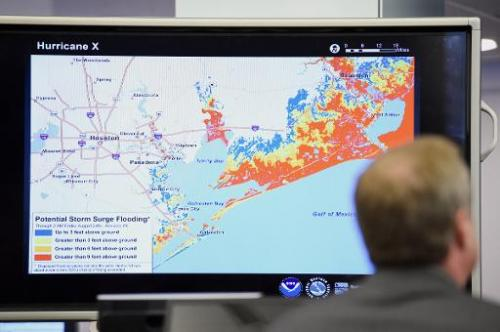A graphic is presented by NOAA of potential storm surge flooding in the Gulf Coast region as the agency issued the initial outlo
