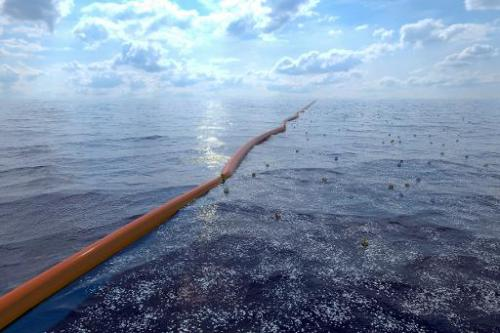 "A handout computer generated image released by the Dutch Organization ""The Ocean Cleanup"" on July 2, 2014 shows an oce"