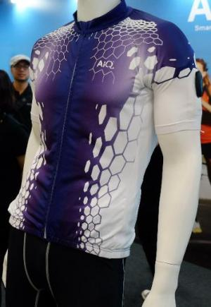 AiQ's Smart Cloth, which can sense heart rate and other vital signs as well as calories burned, is displayed at the Computex tec