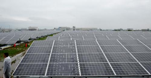 A large-scale solar power plant in Kyoto is pictured on July 1, 2012
