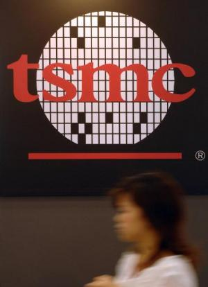 A logo of the TSMC, Taiwan Semiconductor Manufacturing Co., seen during a semi-tech show in Taipei, on May 10, 2007