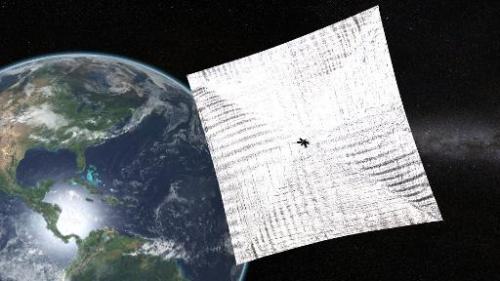 An illustration of The Planetary Society's LightSail, a tiny spacecraft designed to sail by the power of the Sun, and scheduled