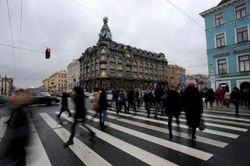 A picture taken in St Petersburg, Russia, on November 13, 2013, shows a building where the social network VKontakte (In Touch) r