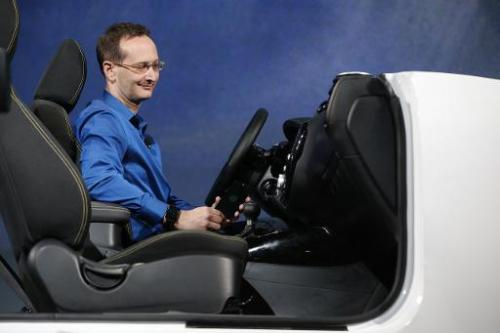 A presenter demonstrates Android Auto on stage during the Google I/O Developers Conference at Moscone Center on June 25, 2014 in