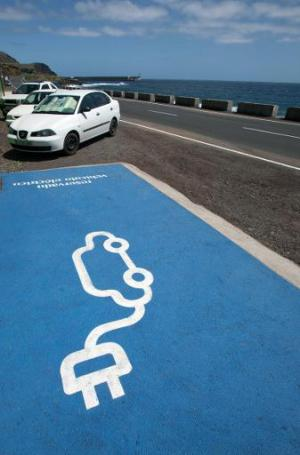 A recharging point for electric vehicles at the Gorona power station on El Hierro island on March 28, 2014