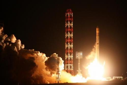A Russian Zenit-3SLB rocket carrying a satellite blasts off from the launchpad at Kazakhstan's Baikonur cosmodrome on October 6,