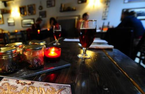 A smoked puffin dish and local beer are on display at a bar and restaurant in Reykjavik, April 23, 2010