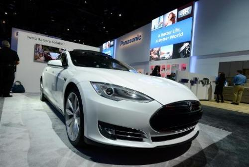A Tesla electric car on display at the Panasonic booth at the 2014 International CES in Las Vegas on January 7, 2014