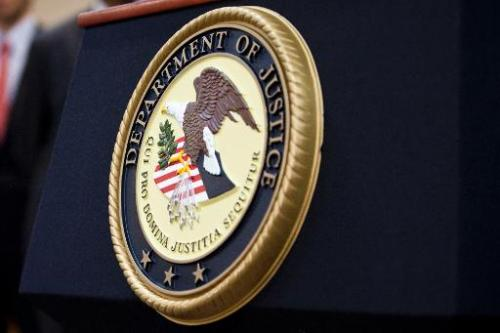A US Department of Justice seal on December 11, 2012