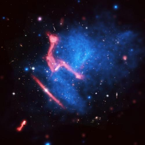 A violent, complex scene of colliding galaxy clusters
