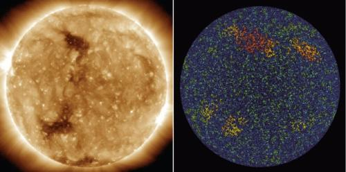 Bright points in sun's atmosphere mark patterns deep in its interior