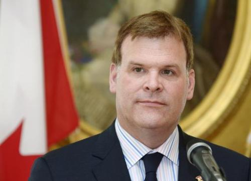 Canada's Foreign Minister John Baird during a press conference in Helsinki, Finland on June 26, 2014