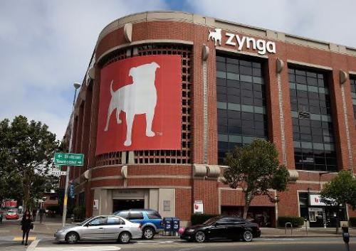 Cars drive by the Zynga headquarters on July 25, 2013 in San Francisco, California