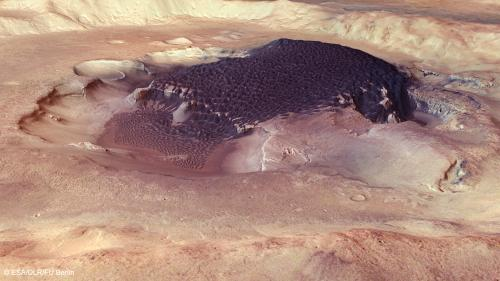 Cascading dunes in a Martian crater