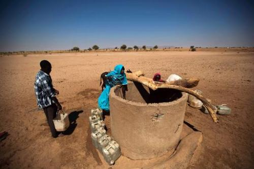 Children collect water from a well in the village of Shagra, North Darfur, January 16, 2014