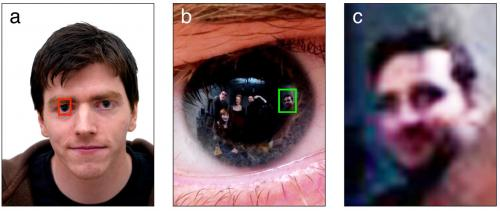 Reflections in the eye contain identifiable faces