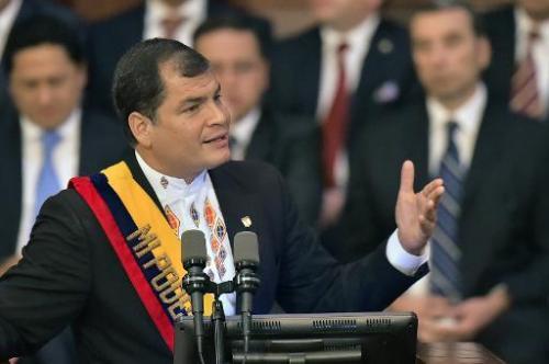 Ecuadorean President Rafael Correa delivers his annual message in Quito, on May 24, 2014