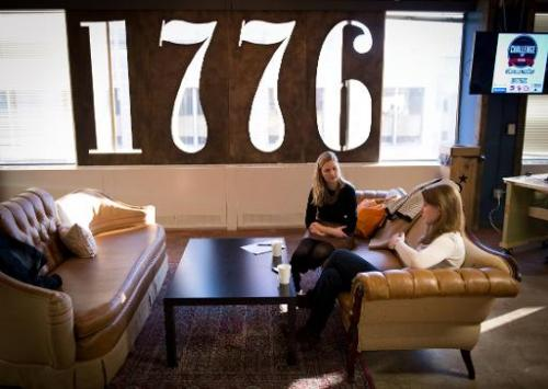 Employees of start-up companies work at the offices of 1776 business incubator in Washington DC, February 11, 2014