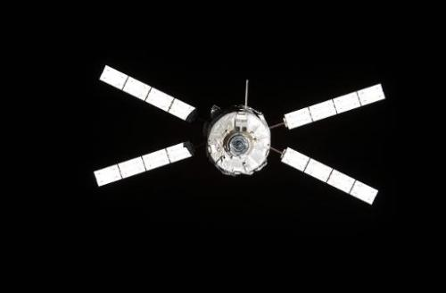 ESA's Jules Verne Automated Transfer Vehicle (ATV) continuing its relative separation from the International Space Station on Se