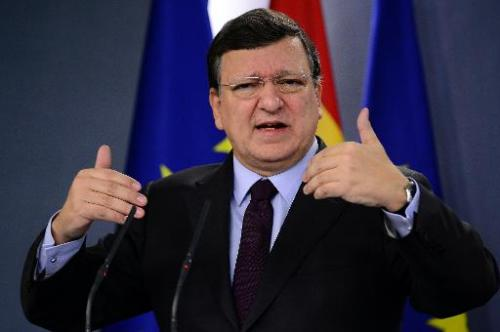 European Commission President Jose Manuel Barroso speaks during a press conference after a meeting at the Moncloa Palace in Madr