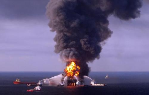 Fire boat response crews battle the blazing remnants of the BP operated off shore oil rig, Deepwater Horizon, in the Gulf of Mex